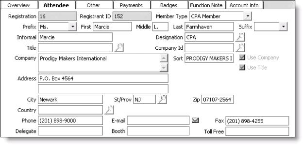 Register a customer window - Attendee tab